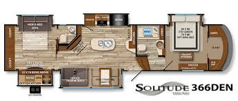 What We Love The Solitude 366DEN Fifth Wheel Took A Unique Approach To Bunkroom Designing It Like Den With Fireplace Wood Flooring And Huge