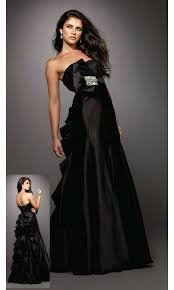 crystal accents floor length straight strapless empire black prom