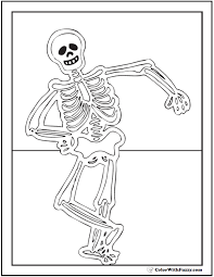 Dancing Halloween Skeleton Coloring Pages