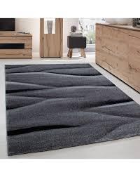 teppich modern designer wohnzimmer abstrakt wellen muster grau schwarz
