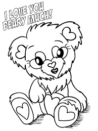 Love You Beary Much Valentine Coloring Page
