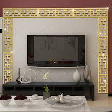 5pcs set acrylic mirror lace waist line wall sticker for tv