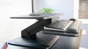 Dual Monitor Stand Up Desk by Vivo Height Adjustable Standing Desk Gas Spring Monitor Riser Sit