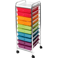 Seville Classics 10 Drawer Organizer Cart With Drawers Pearlized