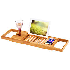 Bamboo Bathtub Caddy With Wine Glass Holder by Amazon Com Ollieroo Natural Bamboo Bathtub Caddy With Extending