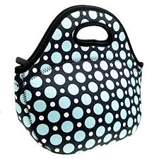 Neoprene Blue Dot Lunch Tote Bag