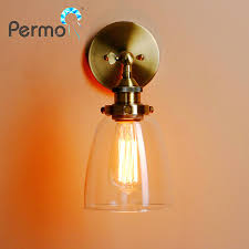 permo vintage antique bronze clear glass lshade wall l metal