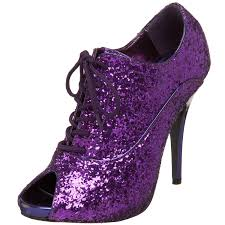 purple color glitter high heels shoes 2014 trendy mods com