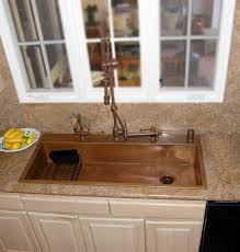 Copper Sinks With Drainboards by Top Mount Single Bowl Copper Sink With Gantry Faucets Kitchen