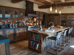 Astonishing Wooden Interior For Kitchen Ideas Showcasing Harmonious Marble Countertop With Graceful Stacked Brick Back Splash Also Fascinating Red