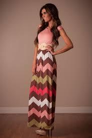 coral mocha chevron maxi dress affordable modest boutique