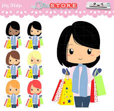 Chibi Girl Shopping In Black Friday With Winter Clothes Kawaii Clipart Set For Planner Stickers