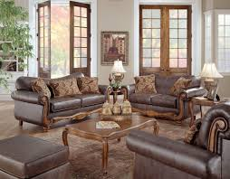 Rustic Living Room Design With Brown Leather Sofa With Arms And