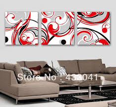 Hand Painted Black White Red Wall Art Decor For Living Room Modern Abstract 3 Panel Sets Oil Canvas Picture Paintings No Frame In Painting Calligraphy