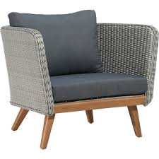 Pacific Bay Patio Chairs by Zuo Modern 703748 Grace Bay Outdoor Arm Chair In Light Gray