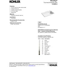 19 X 33 Drop In Kitchen Sink by Kohler K 8689 4 0 Riverby White Drop In Single Bowl Kitchen Sinks