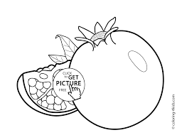 Pomegranate Fruits Coloring Pages For Kids Printable Free