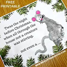 Twas The Night Before Christmas Free Printable Footprint Mouse Craft For Kids A