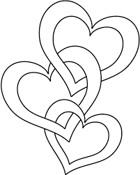 Joined Hearts Coloring Page Linked Heart Chain Printable Picture