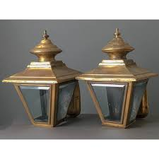of antique brass exterior wall lanterns with beveled glass circa 1940