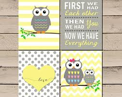 Owl Nursery Art Pictures Decor Baby Girl