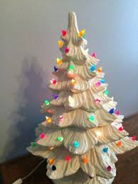 White Ceramic Christmas Tree With Lights Amazing Multi Colored Tall Vintage Prev