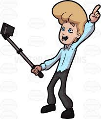 A guy using a monopod to take his selfie