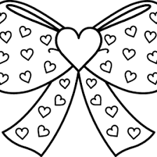 Bow With Hearts Coloring Page Free Clip Art