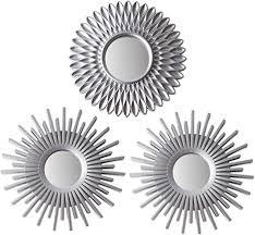 bonnyco spiegel rund silber 3 stück spiegel klein wanddeko wohnzimmer haus und schlafzimmer spiegel wand zum aufhängen und dekorieren spiegel