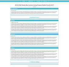 Blue EBay Auction Listing Template HTML Responsive Mobile Friendly Design 2018