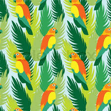 Parrots And Tropical Jungle Leaves Tree Beautiful Seamless Vector Floral Pattern Background Exotic Print Wallpaper