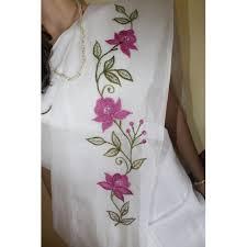 White Organdy Flowered Saree