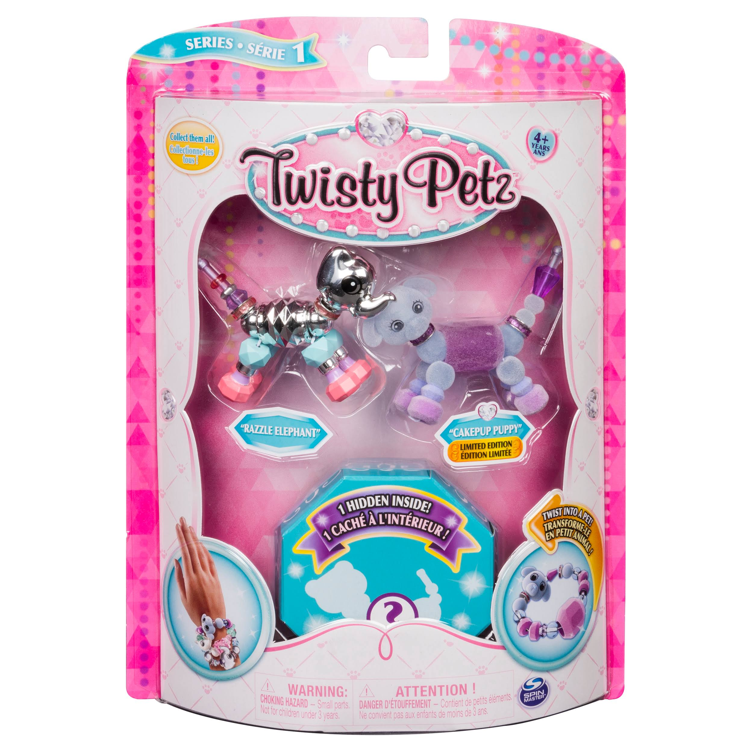 Twisty Petz Razzle Elephant, Cakepup Puppy and Surprise Collectible Bracelet Set