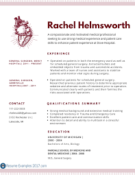 Professional Medical Resume Examples 2017 Resumes Online Free Of