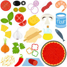 Icons Of Ingredients Make Pizza Stock Vector
