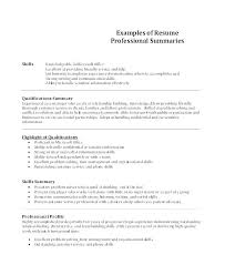 Summary Resume Samples Career Examples For Sample Of