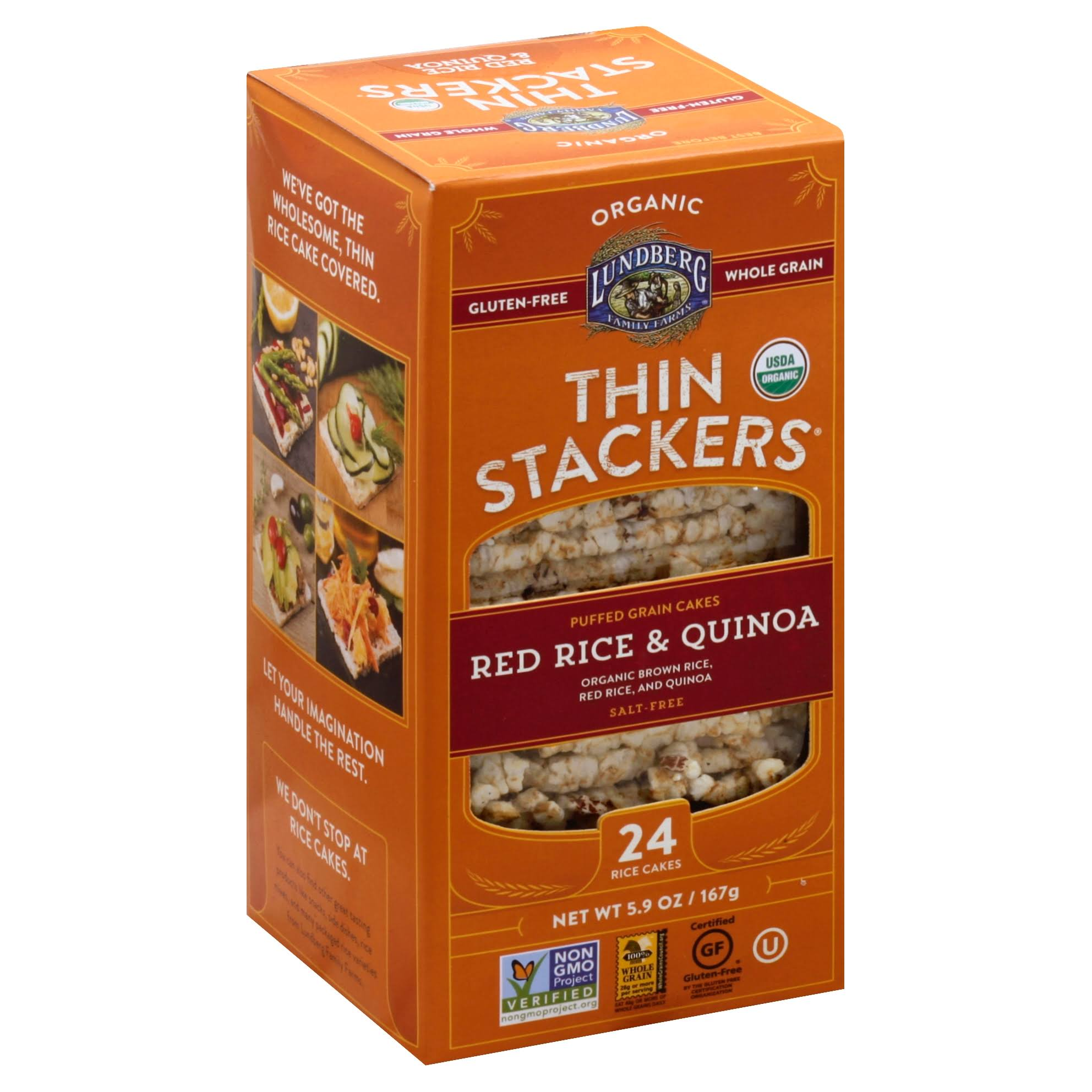 Lundberg Thin Stackers Rice Cakes, Organic, Salt-Free, Red Rice & Quinoa - 24 rice cakes, 5.9 oz