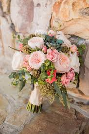 Top Ten Rustic Wedding Bouquet Recipes Blush Garden Roses Succulents Eucalyptus Cream