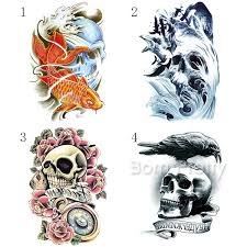 199 1 Sheet Skull Flower Bird Wave Tattoo Decals Body Art Decal Waterproof Paper Temporary