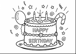 Outstanding Happy Birthday Cake Coloring Page With Pages And For Grandma