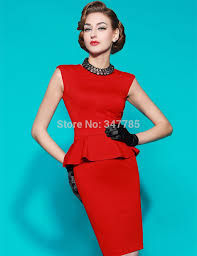 2014 Autumn Women Vintage Retro Elegant Red Sexy Pencil Peplum Formal Business Work Wear Office Ladies Dress Plus Size