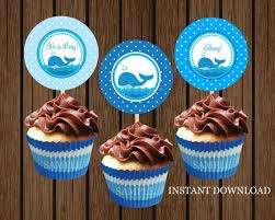 Whale Cupcake Toppers Baby Shower Nautical
