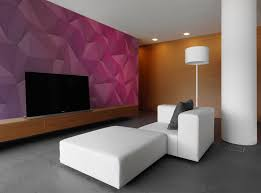 Pastel Room Design With Geometric Shape Wall Mural Among Leather Rug Decor Also Wooden Chair Beside