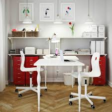 A White Home Office With HISSMON Table For Two VAGSBERG SPORREN Swivel Chairs