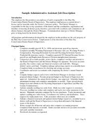 Administrative Assistant Job Description For Resume Executive Position Example Sample Admi Large Size