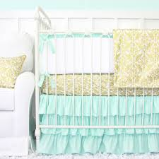 Coral And Mint Crib Bedding by We Have A Pink Version Why Not Make A Mint This Gold And M Int