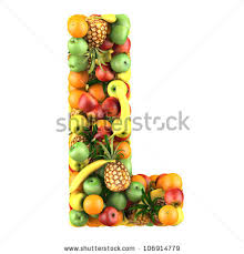 Letter L Made Fruits Isolated Stock Illustration