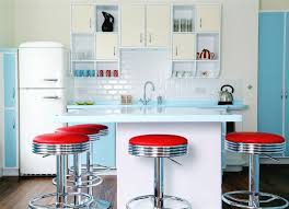 KitchenShabby Chic Kitchen Feat Red Metal Stools And Modular Wall Cabinets Shabby