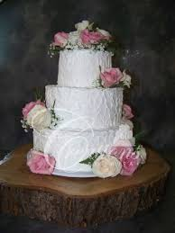 White Wedding Cake Rustic Non Smooth Fresh Flowers Wood Slab