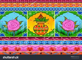 100 Truck Art Vector Design Floral Kitsch Background Indian Stock Vector Royalty